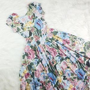 Vintage 70's Floral Fit Flare Boho Princess Dress